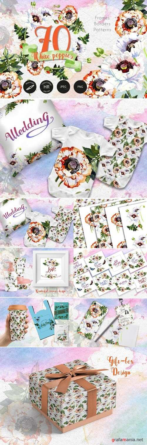 White poppies PNG watercolor set 2430595