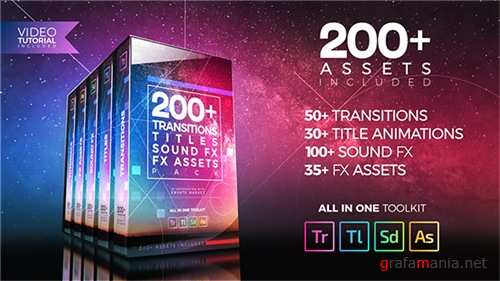 200+ Pack: Transitions, Titles, Sound FX - Premiere Pro Templates (Videohive)