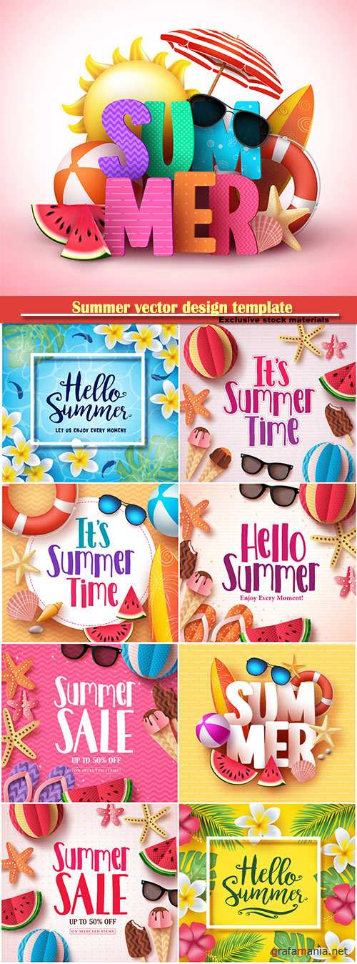 Summer vector design template, sale background # 3