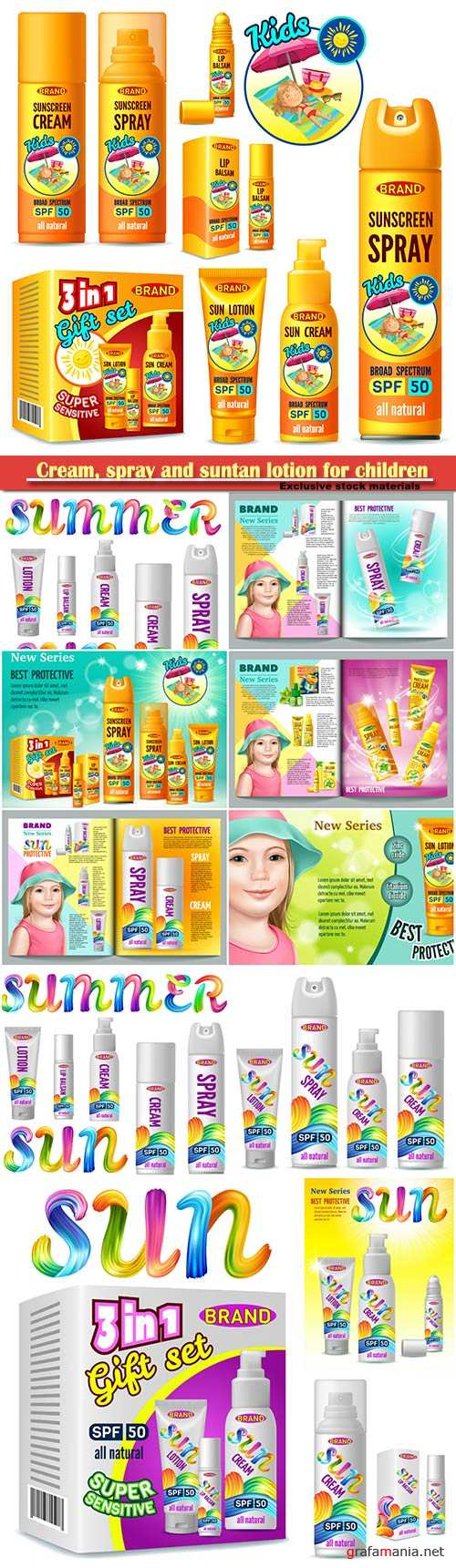 Cream, spray and suntan lotion for children