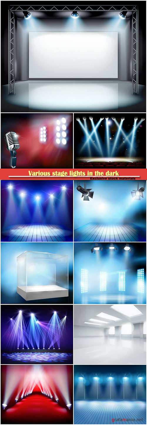 Various stage lights in the dark, vector spotlight on stage