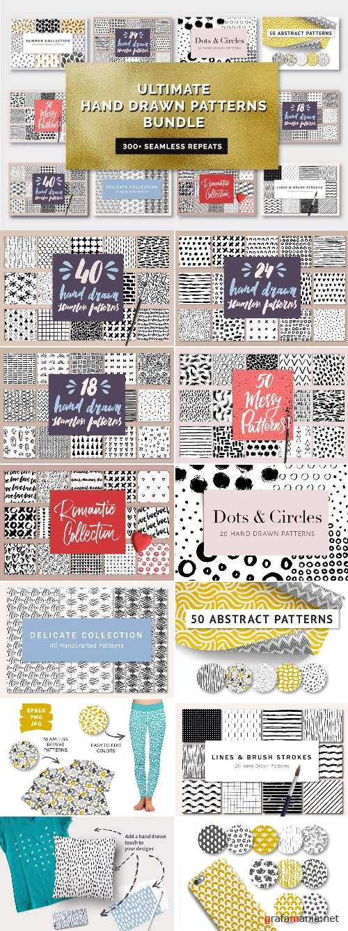 Ultimate Hand Drawn Patterns Bundle - 2374786