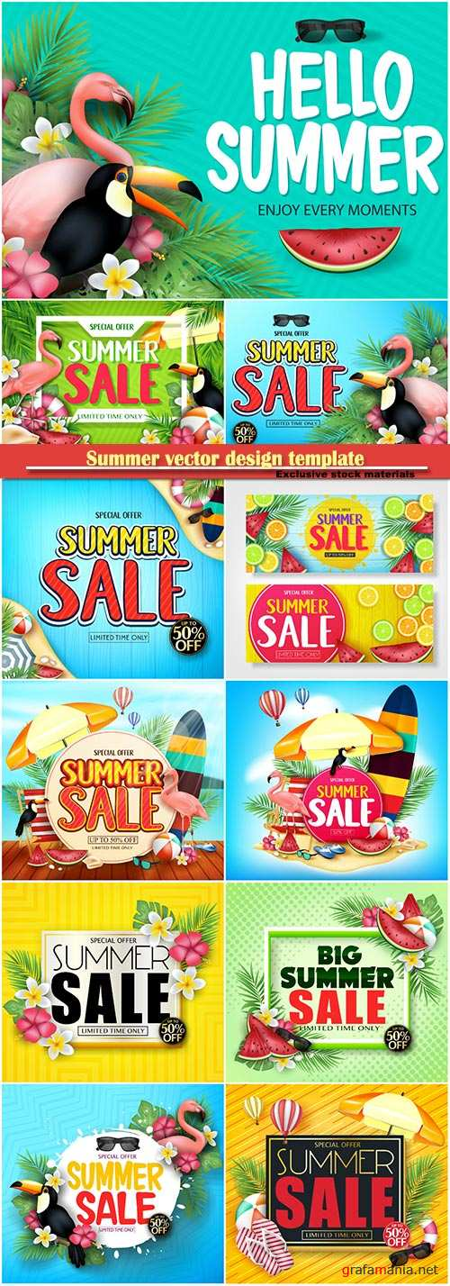 Summer vector design template, sale background # 4