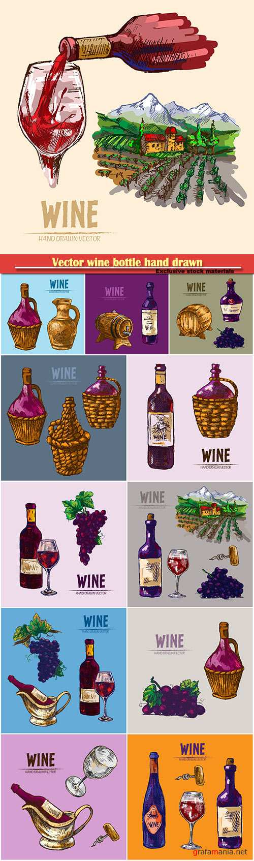 Vector wine bottle hand drawn retro illustration
