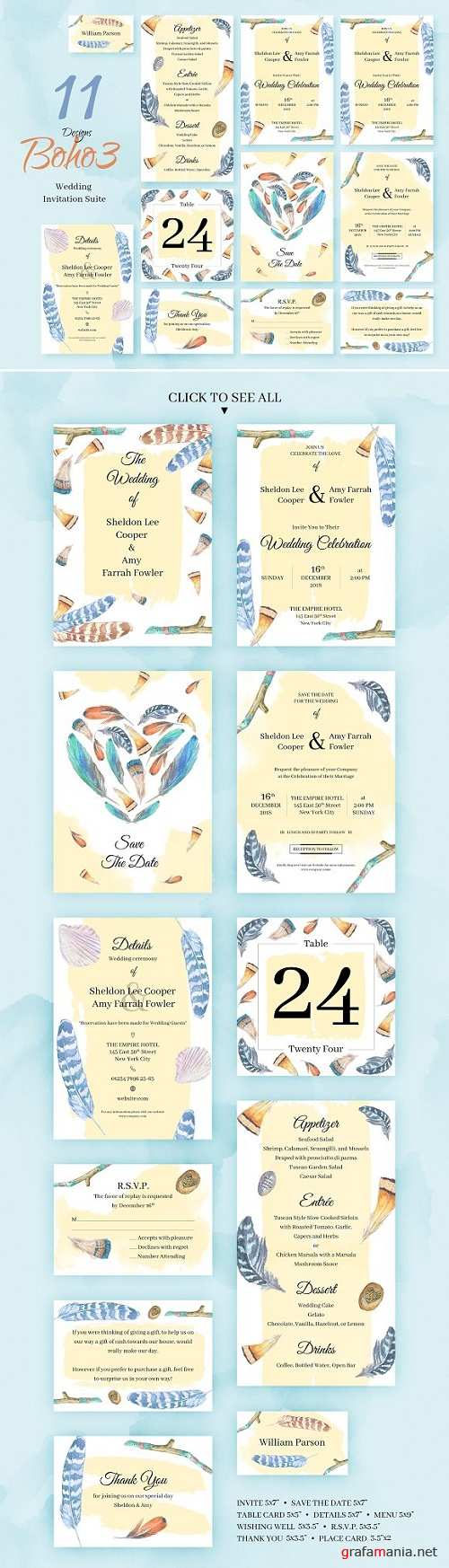 Boho3. Wedding Invitation Package 2336782