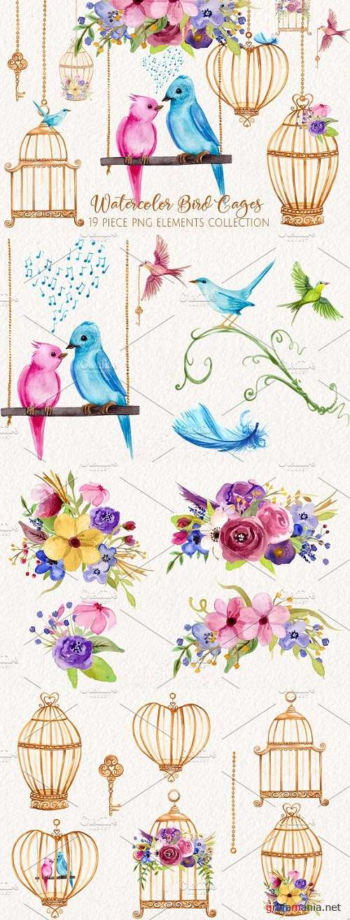 Watercolor Love Birds and Cages 2444846