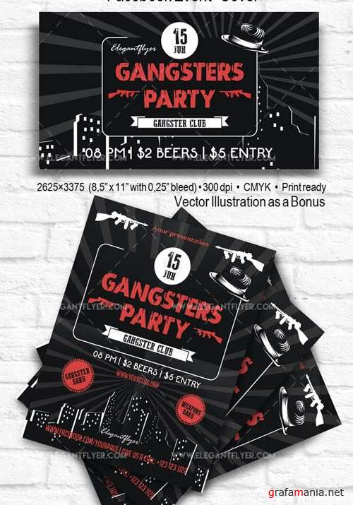 Gangsters Party V5 2018 Flyer PSD Template