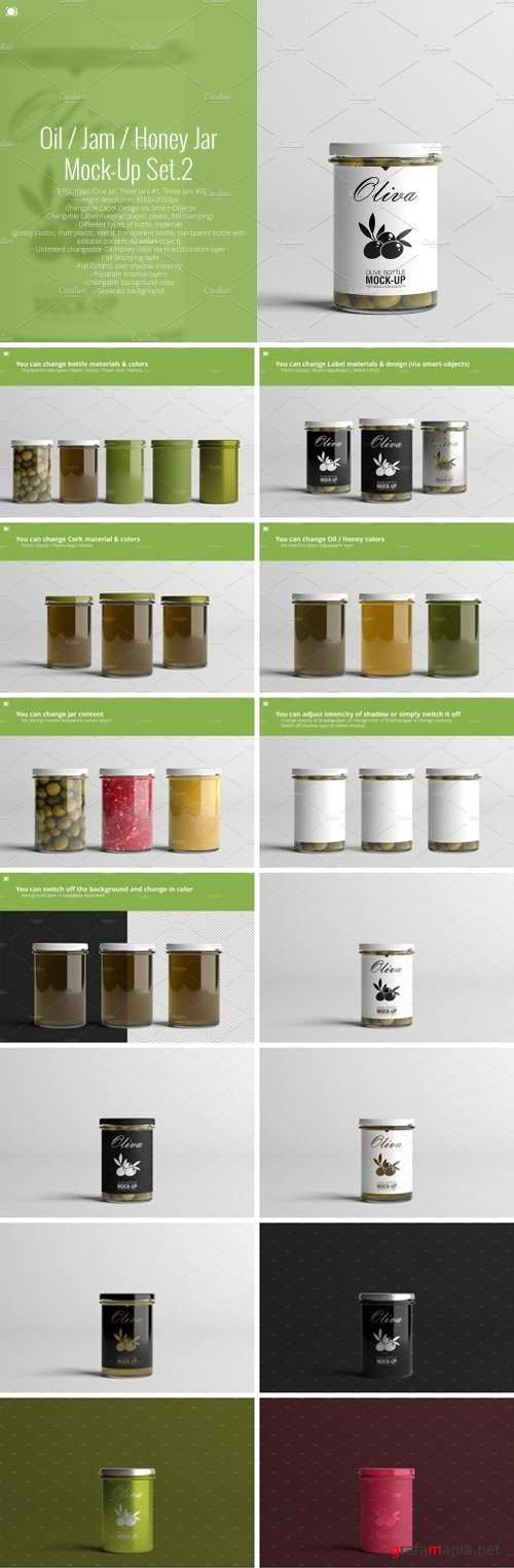Oil Jam Honey Jar Mock-up Set.2 2159396