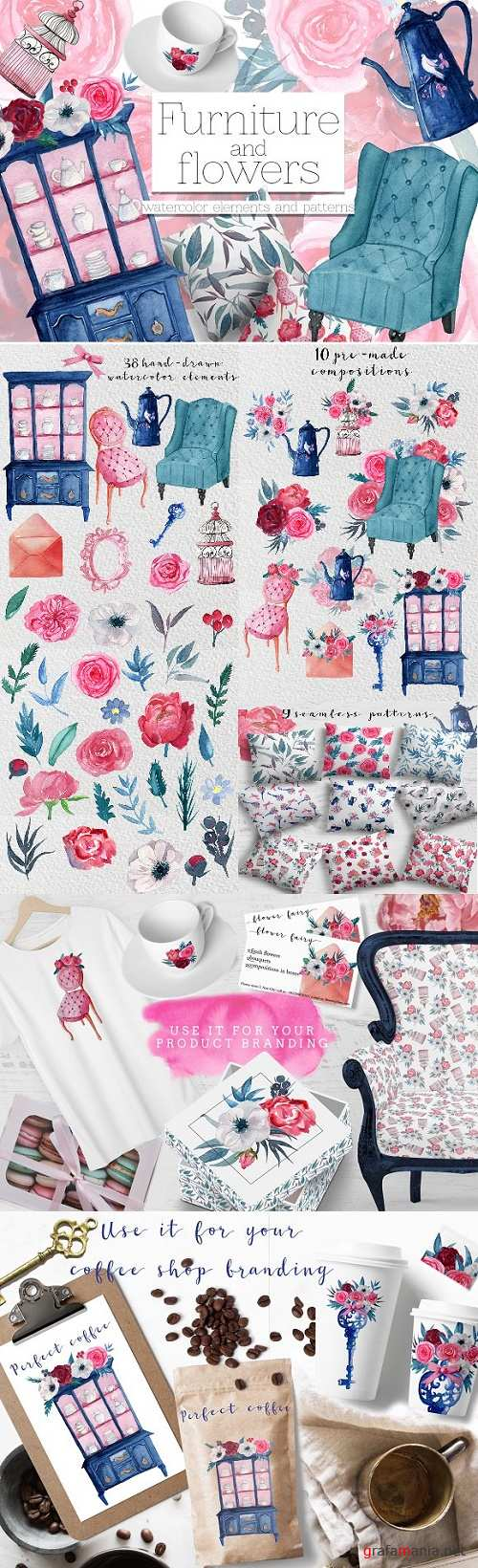 Furniture & Flowers Watercolor Set - 2384949
