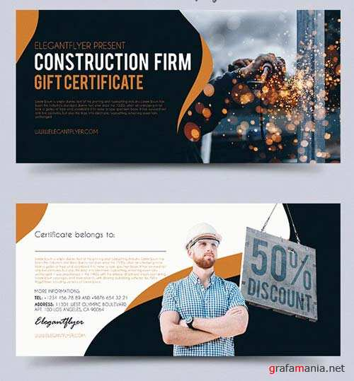 Construction Firm V1 2018 Premium Gift Certificate PSD Template