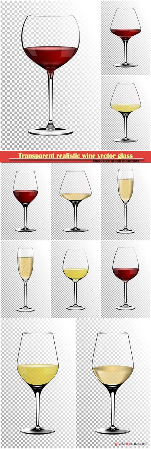 Transparent realistic wine vector glass full of white and red wine