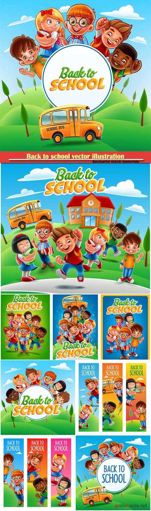 Back to school vector illustration, funny kids with school books