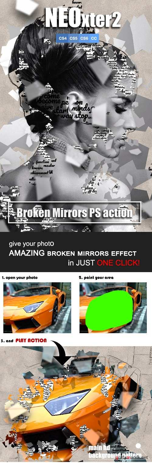 NEOxter2 Broken Mirrors Photoshop Action 21890772
