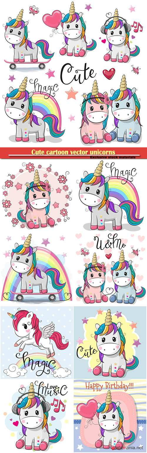 Cute cartoon vector unicorns isolated on a white background