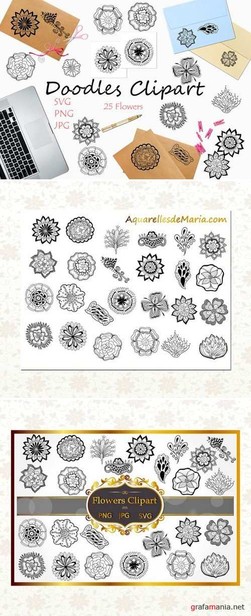 Black Flowers Clipart Collection 2487587