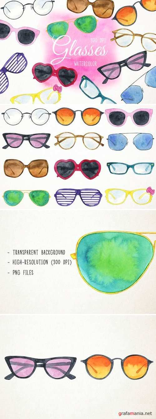 Watercolor Sunglasses Clipart 2486516