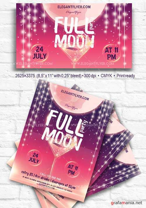 Full Moon Party V9 2018 Flyer PSD Template