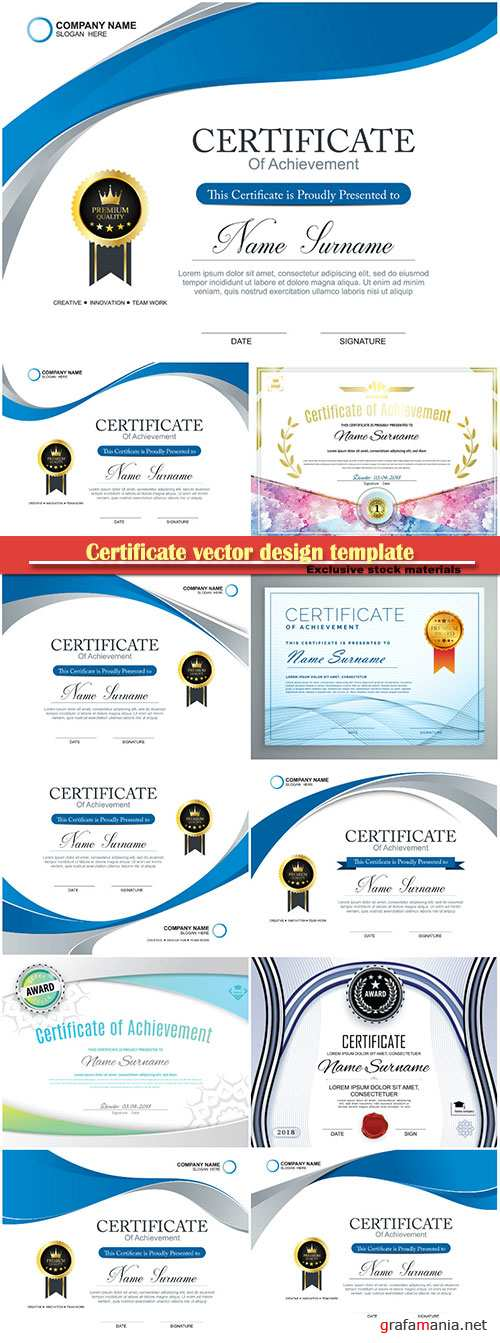 Certificate and vector diploma design template # 71