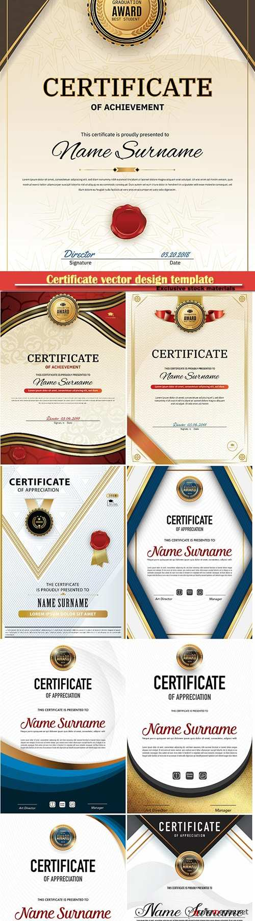 Certificate and vector diploma design template # 66