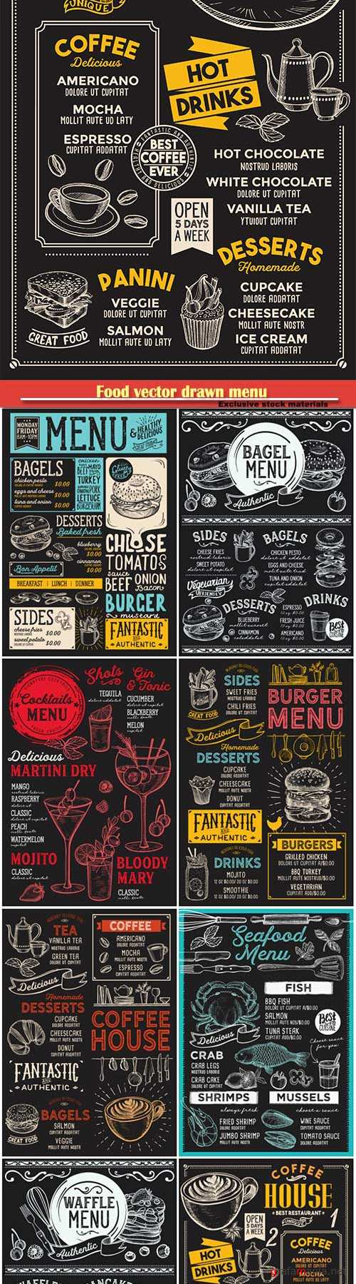 Food vector drawn menu, seafood, fast food, sushi, ice cream, cocktails