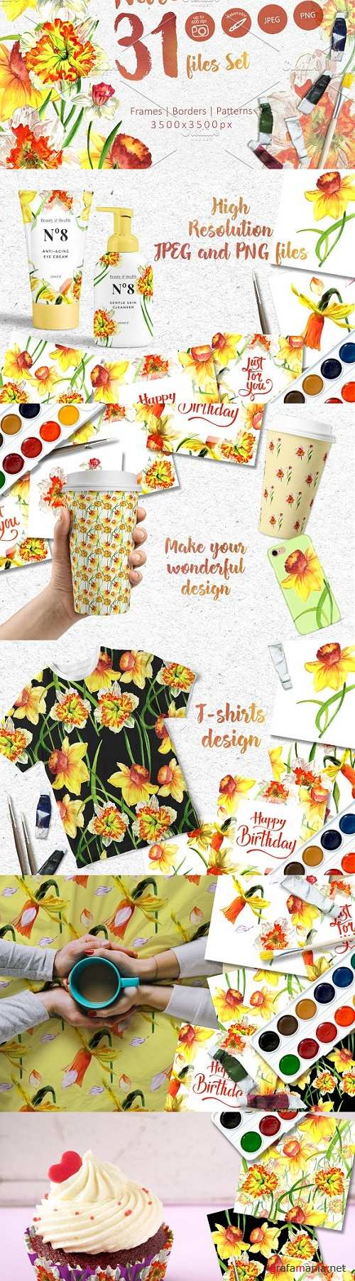 Narcissus lemon PNG watercolor set 2441985
