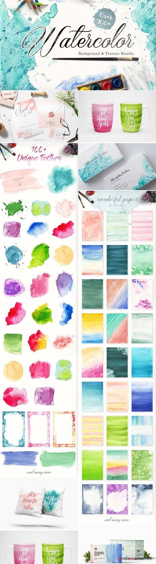 Watercolor Background & Textures - 2433654
