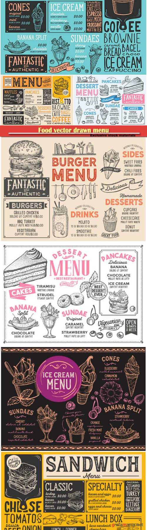 Food vector drawn menu, fast food, ice cream, cocktails, desserts