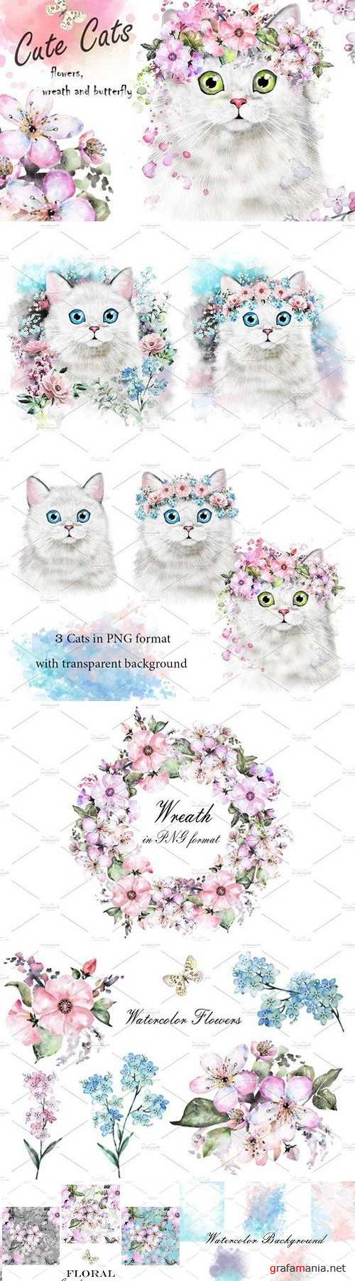 Cute Cats. Flowers 1540582