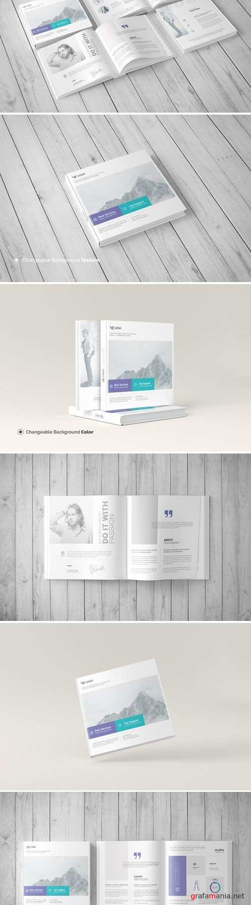 Square Book Mock-Up / Hardcover 1536867