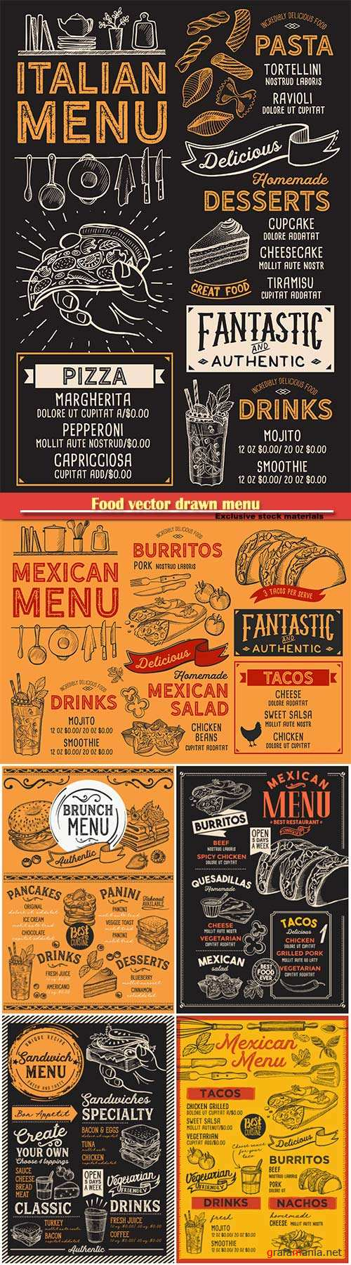 Food vector drawn menu, fast food, ice cream, cocktails, desserts, mexican food