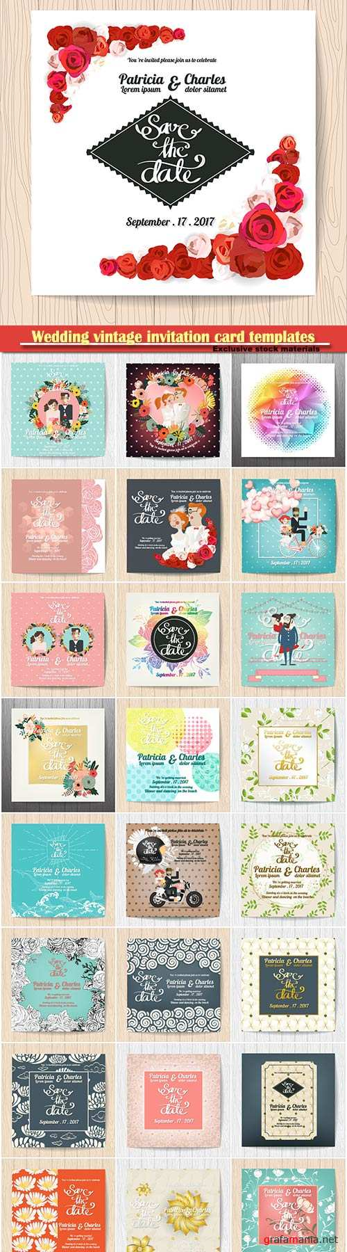 Wedding vintage invitation card templates