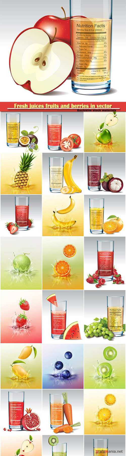 Fresh juices fruits and berries in vector