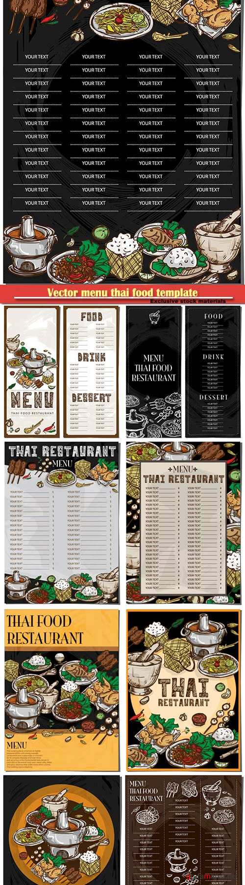 Vector menu thai food template