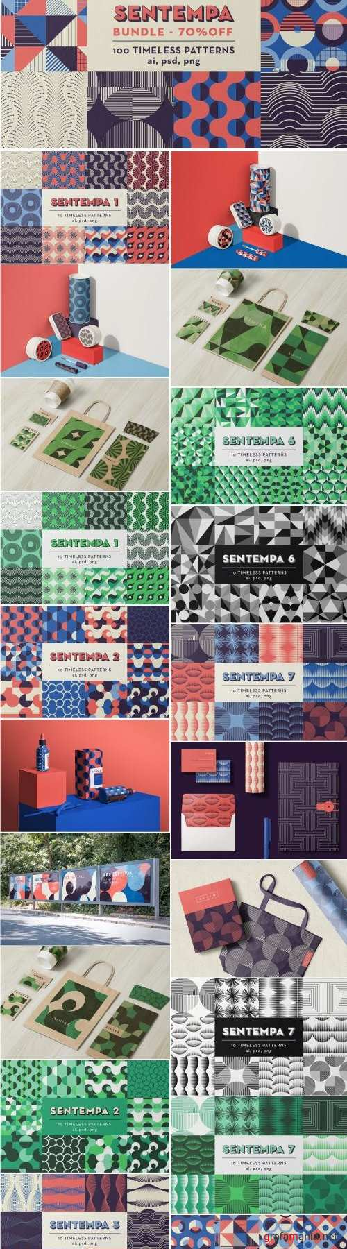 SENTEMPA BUNDLE 1: 100 Geo Patterns - 2429781