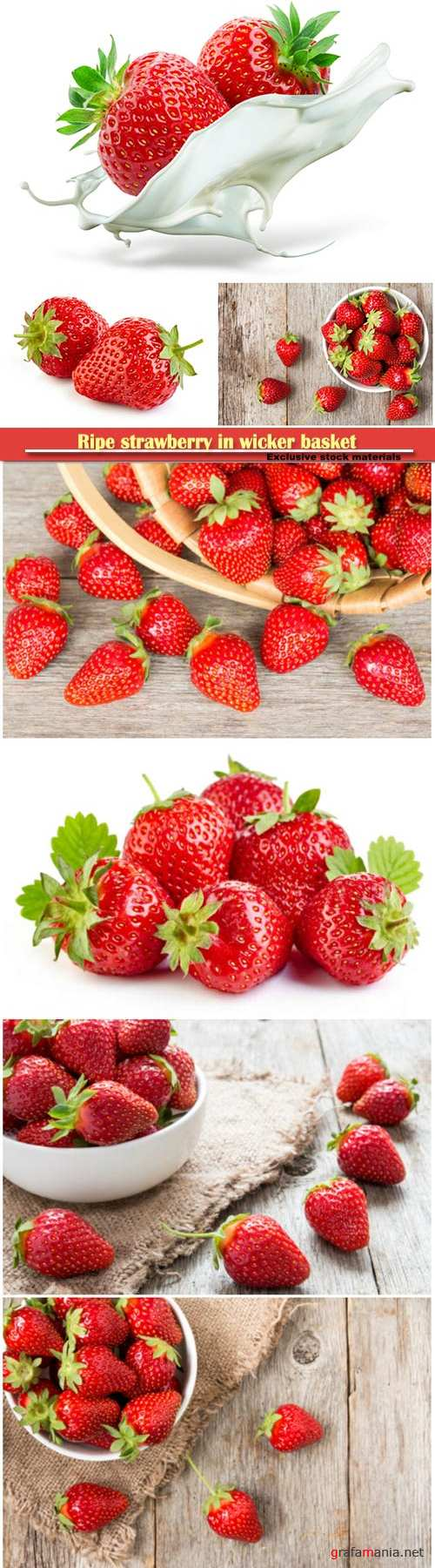 Ripe strawberry in wicker basket on a wooden background