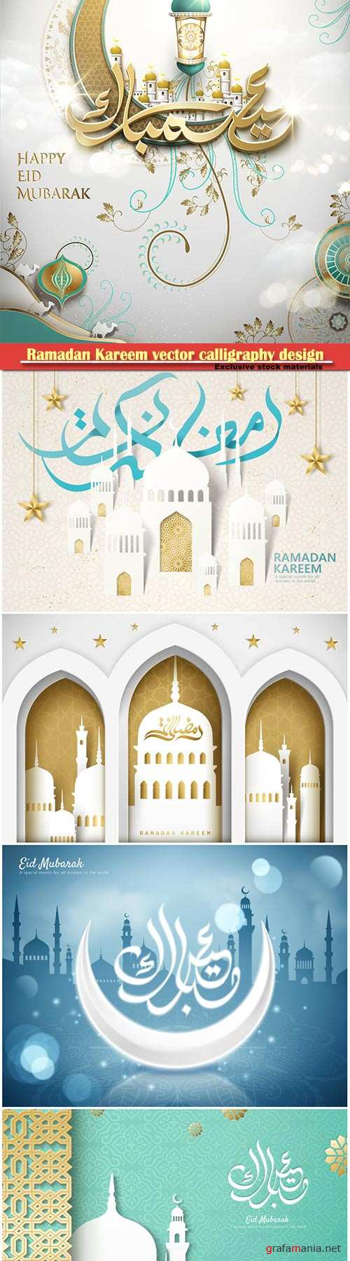 Ramadan Kareem vector calligraphy design with decorative floral pattern,mosque silhouette, crescent and glittering islamic background # 13