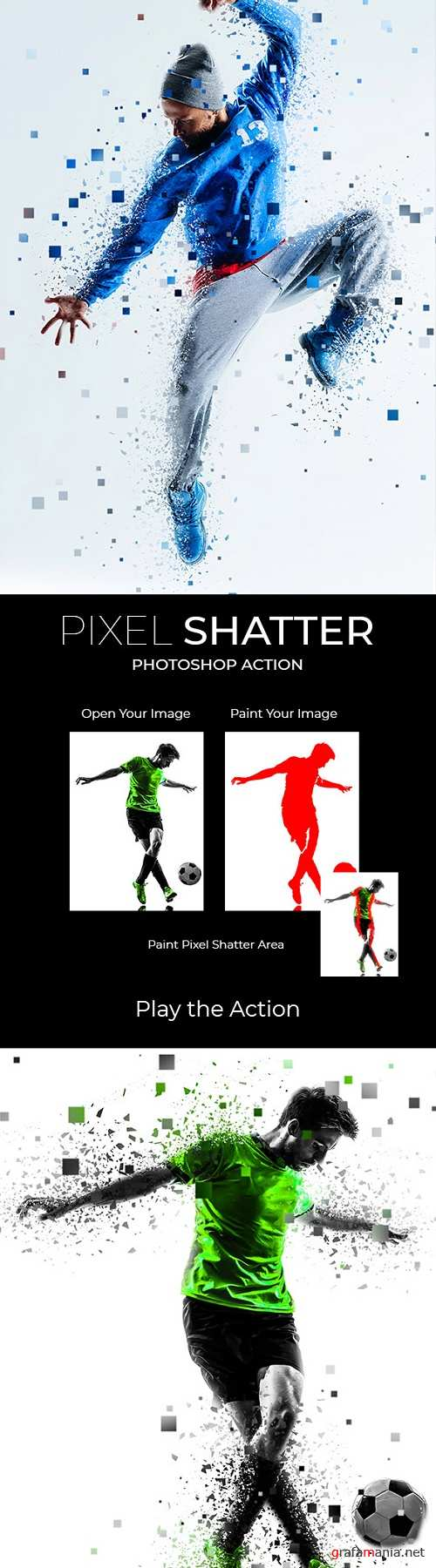 Pixel Shatter Photoshop Action 21883196