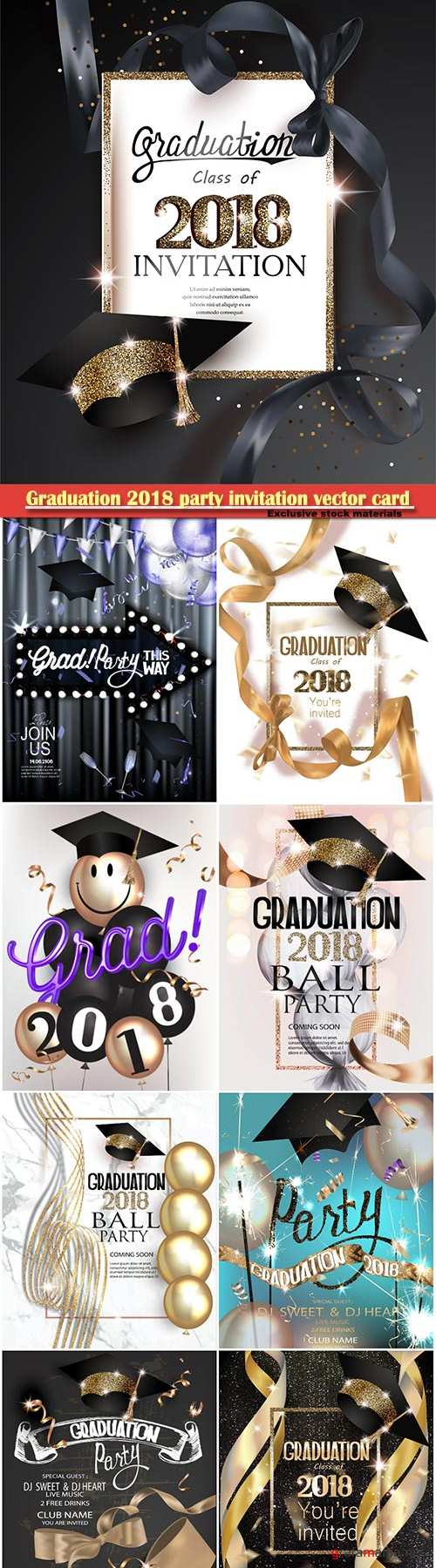 Graduation 2018 party invitation vector card with hat and long gold silk ribbon and confetti