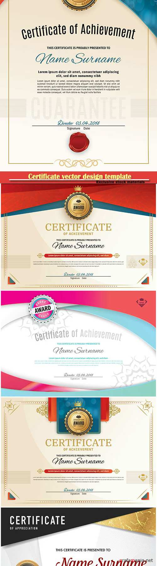 Certificate and vector diploma design template # 70