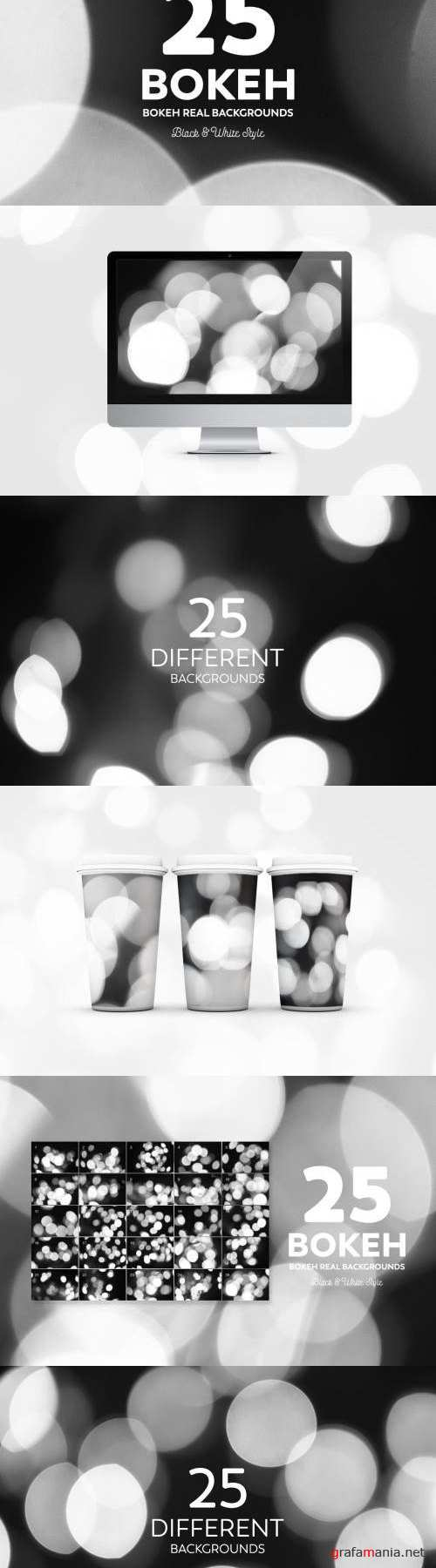 25 Bokeh Real Backgrounds Black & White Style