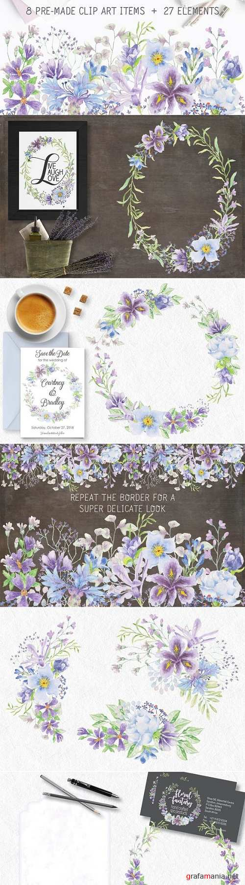 Lilac and blue watercolor bundle 2493877