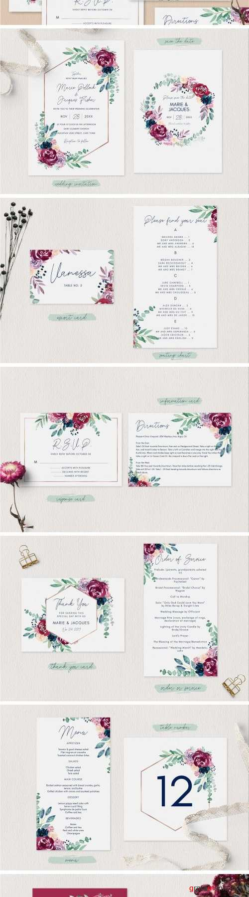 Burgundy Wedding Invitation Set - 2573257
