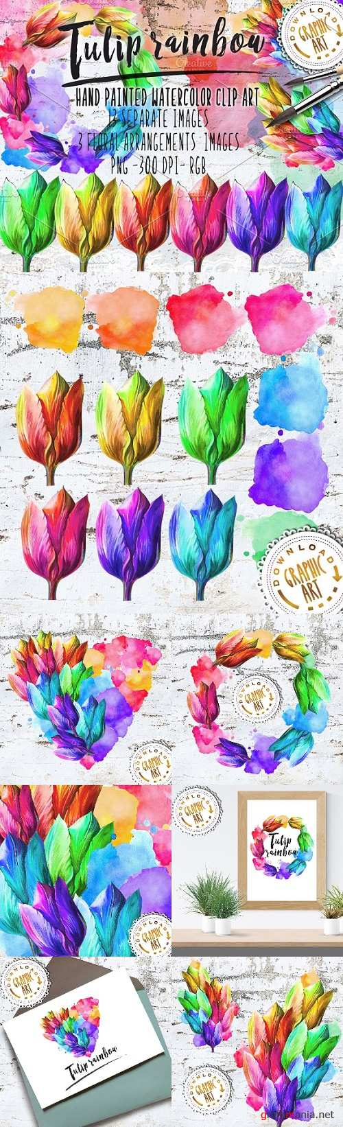 Watercolor Clipart; Tulip Wreath 2391793
