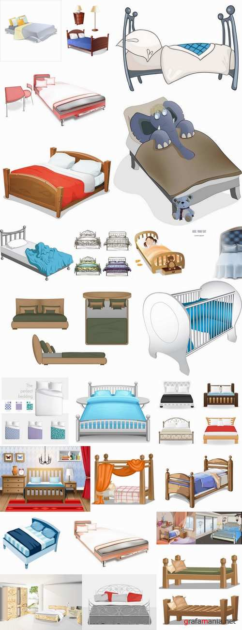 Collection of interior bed sleep cartoon 25 EPS