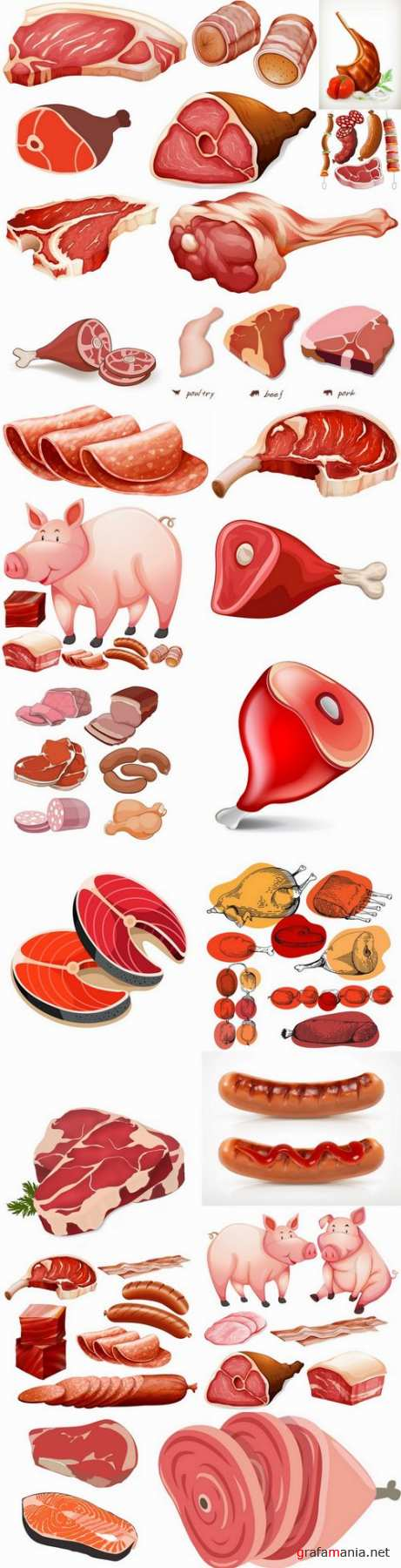 Meat beef pork sausage meat products 25 EPS