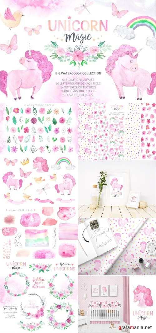 Watercolor Unicorn Design Set - 2393846