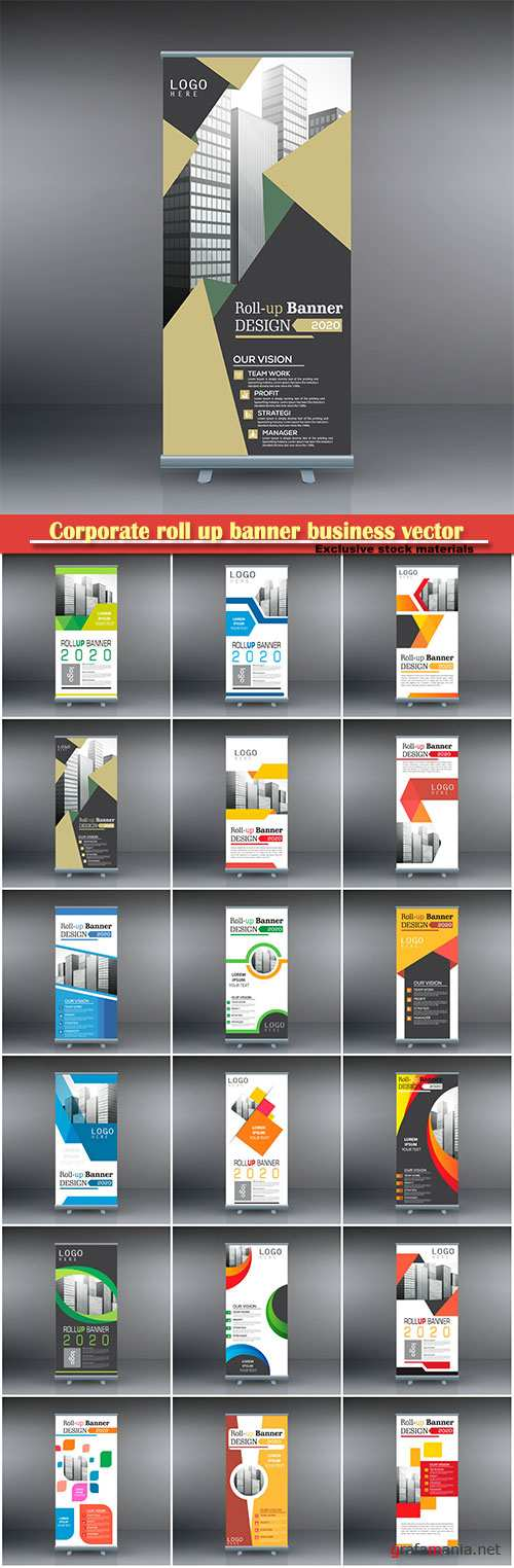 Corporate roll up banner business vector template # 4
