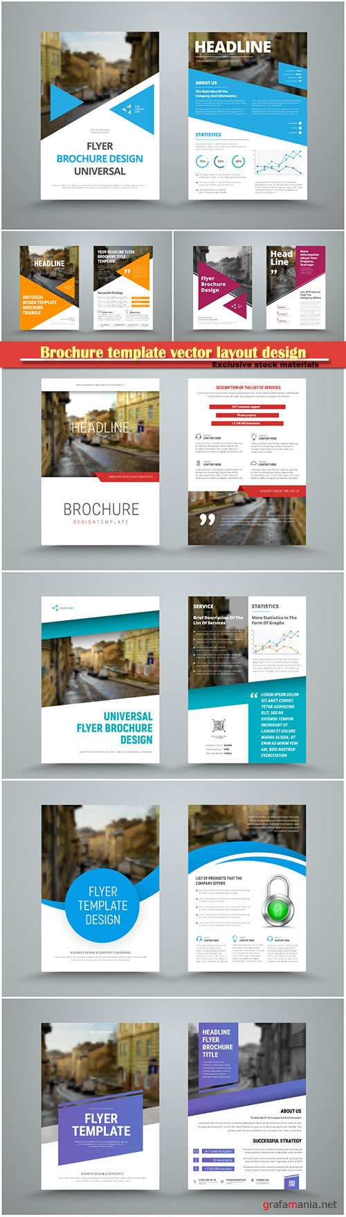 Brochure template vector layout design, corporate business annual report, magazine, flyer mockup # 171