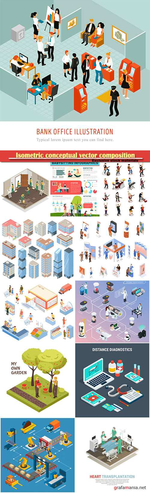 Isometric conceptual vector composition, infographics template set