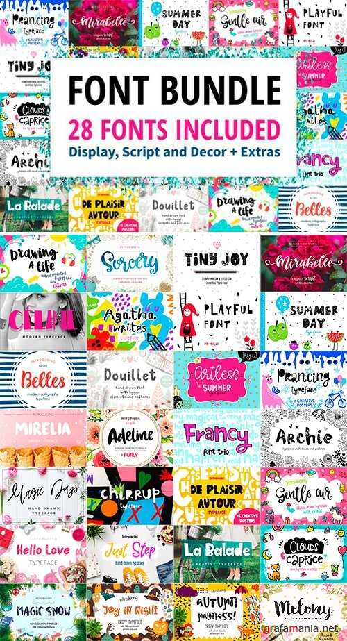 Font Bundle - 28 Fonts with Extras 2544097